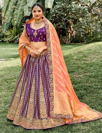 Traditional purple wedding wear semi stitched lehenga choli