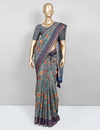 Trending grey and red printed festive wear saree in cotton