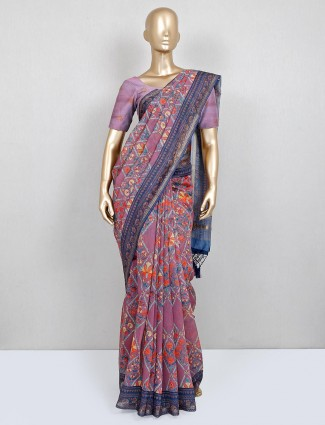 Trending pink and blue cotton saree for festive wear function