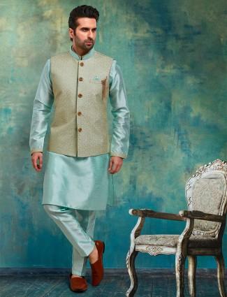 Trendy aqua brocade raw silk waistcoat set