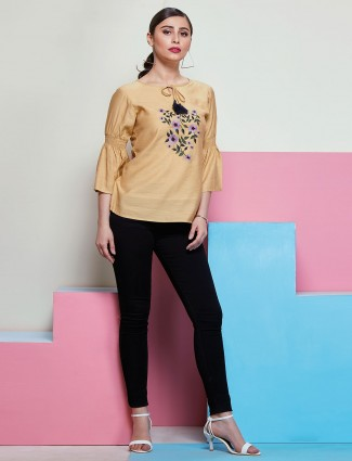 Trendy Beige top with floral embroidery