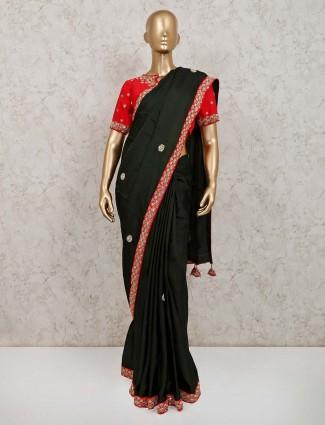 Trendy black satin party wear saree