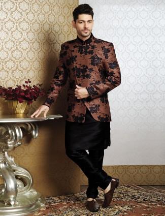 Trendy brown raw silk waistcoat set