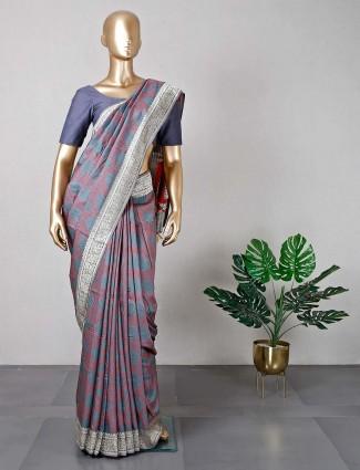 Trendy grey cotton festive wear saree