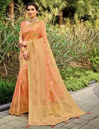 Trendy pink banarasi silk wedding wear saree