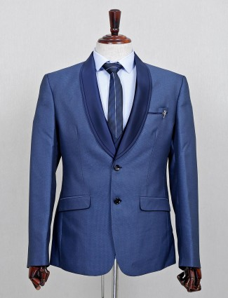 Two button terry rayon three piece coat suit in blue