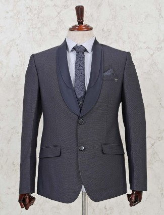 Two button terry rayon three piece coat suit in grey