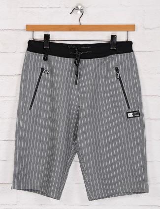 TYZ grey slim fit stripe shorts