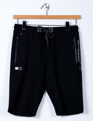 TYZ solid black cotton lycra shorts