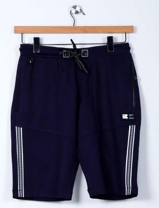 TYZ solid navy cotton lycra slim fit shorts