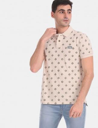 U S Polo Assn beige printed polo neck t-shirt