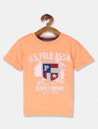 U S Polo Assn peach printed slim fit t-shirt
