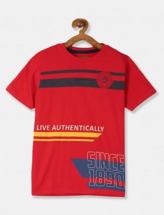 U S Polo Assn red boys printed t-shirt