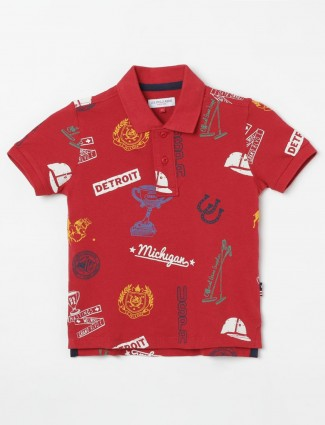 U S Polo Assn red printed cotton t-shirt