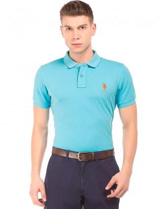 U S Polo Assn slim fit aqua cotton t-shirt