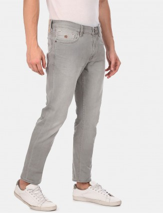 U S Polo Assn washed light grey slim fit jeans