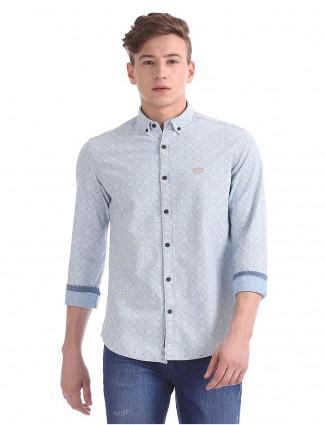 U S Polo grey printed cotton fabric shirt