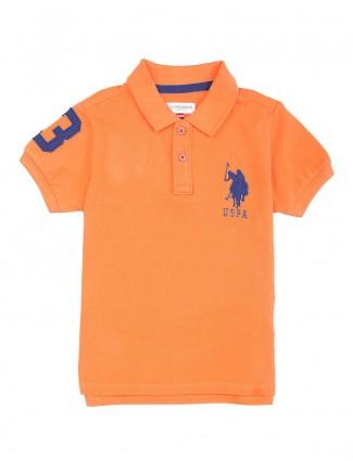 U S Polo orange plain t-shirt