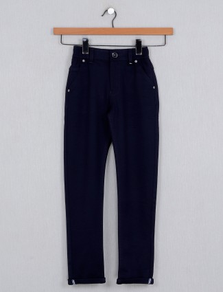 U-tex cotton fabric navy solid trouser