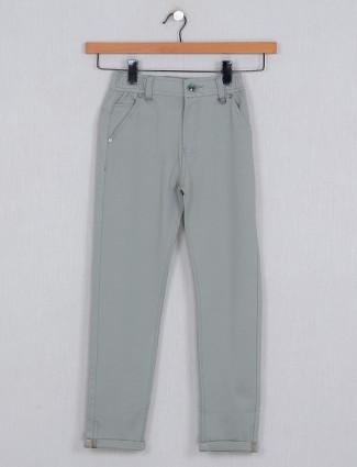 U-tex solid pista green hue casual wear trouser