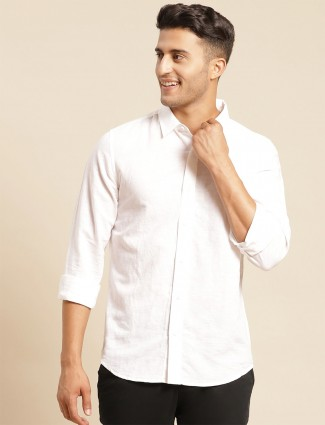 UCB cotton casual shirt in white shade