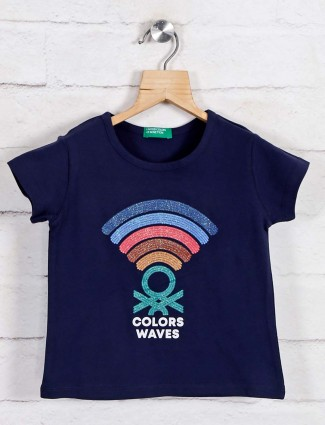 UCB Navy printed cotton top for girls