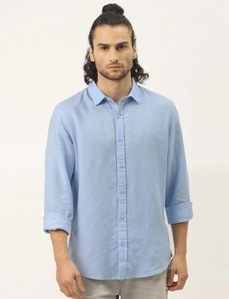 UCB presented solid style powder blue casual shirt