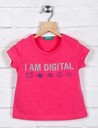 UCB printed pink casual cotton top