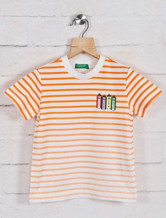 UCB white and orange stripe t-shirt