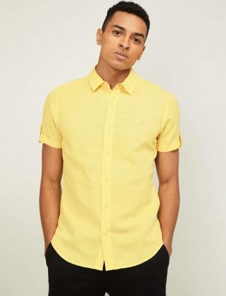 UCB yellow linen casual wear solid shirt