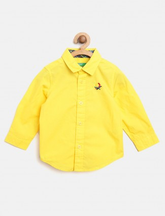 United Colors of Benetton bright yellow solid shirt