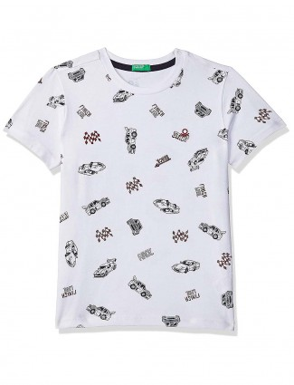 United Colors of Benetton grey printed round neck t-shirt