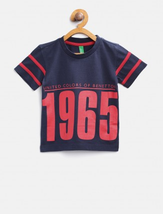 United Colors of Benetton navy printed pattern t-shirt
