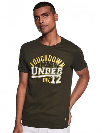 United Colors of Benetton printed olive t-shirt