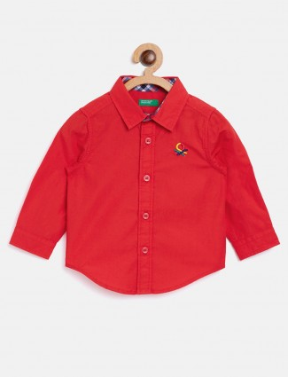 United Colors of Benetton red casual solid shirt