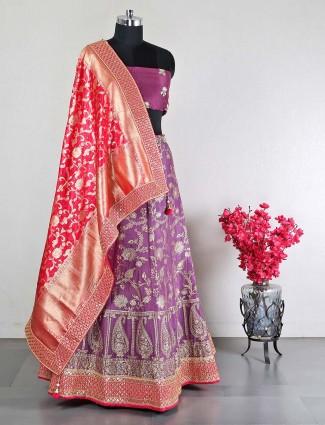 Unstitched wedding wear violet raw silk lehenga choli
