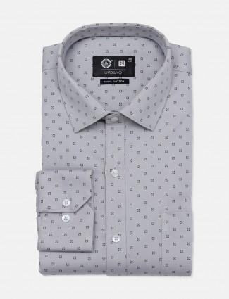 Urbano grey printed party wear mens shirt