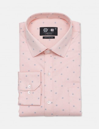 Urbano pink printed cotton mens shirt