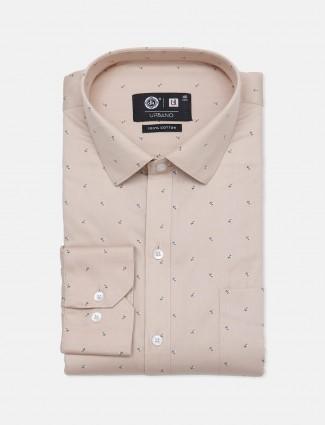 Urbano printed cotton beige party wear shirt