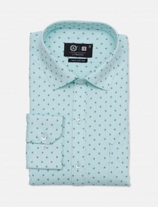 Urbano printed sea green cotton party wear mens shirt