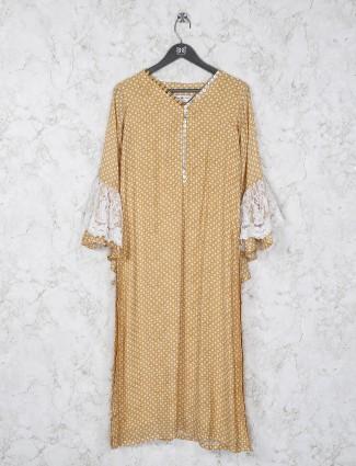 V neck gold color printed cotton kurti