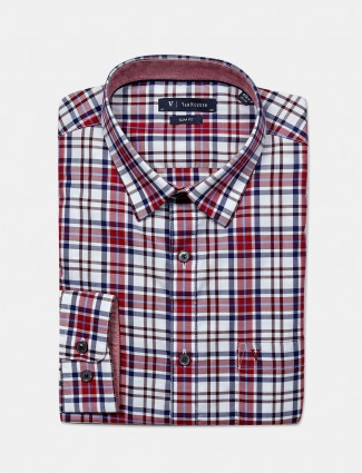 Van Heusen checks cotton red hue shirt