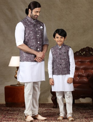 Violet and whiye cotton father and son waistcoat set
