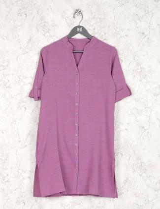 Violet hue cotton casual wear kurti