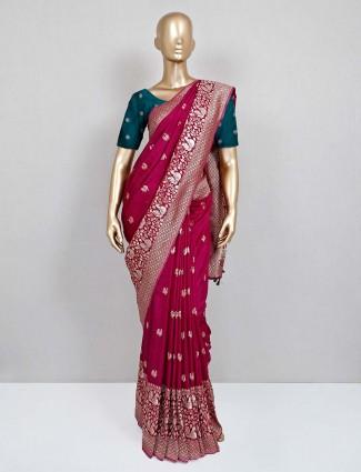 Violet semi silk party wear saree