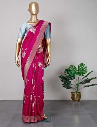 Violet shade silk saree for women