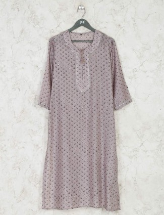 Violet simple printed cotton kurti for casual