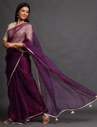 Violet Tissue silk party Wear Saree with readymade blouse