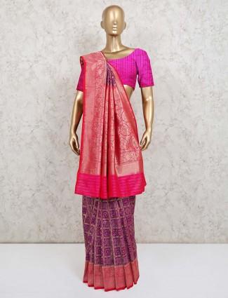Violet wedding wear patola silk saree