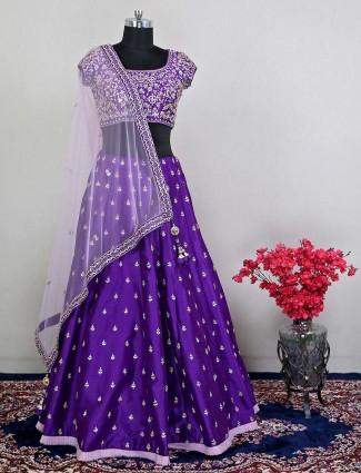 Violet wedding wear womens lehenga choli in raw silk